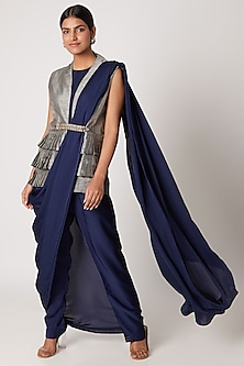 Midnight Blue Draped Jumpsuit Saree With Grey Jacket by Rishi & Vibhuti