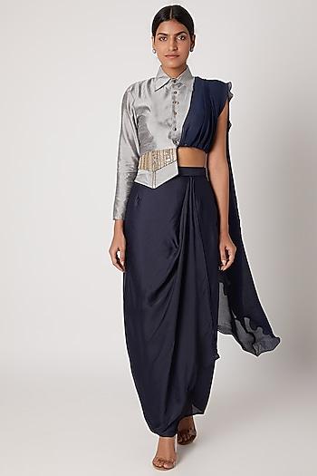 Midnight Blue Pencil Skirt With Grey Draped Jacket by Rishi & Vibhuti