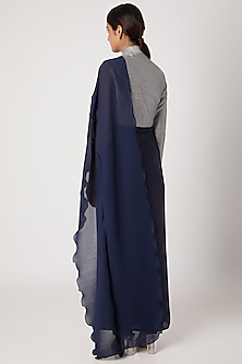 Midnight Blue Pencil Skirt With Grey Draped Jacket by Rishi & Vibhuti