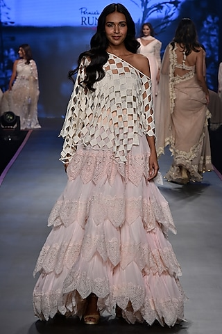 Pink Embroidered Lace Skirt With One Shouldered Top by RINA DHAKA