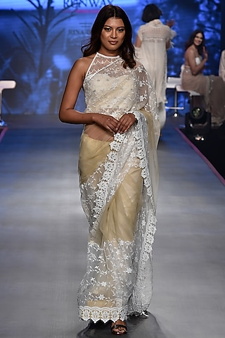 Golden Embroidered Saree Set by RINA DHAKA