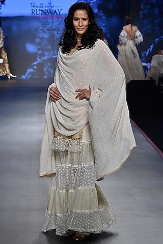 Beige Mukaish Work Sharara Set by RINA DHAKA