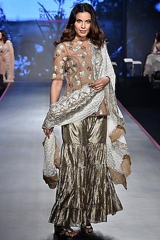 Golden Embroidered Sharara Set by RINA DHAKA