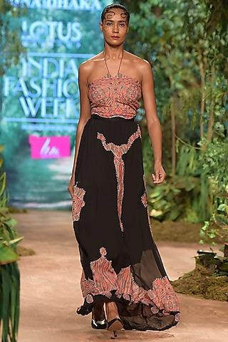 Black Tribal Printed Skirt by RINA DHAKA
