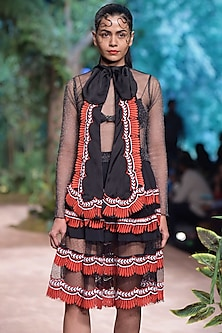 Black Embroidered Top by RINA DHAKA