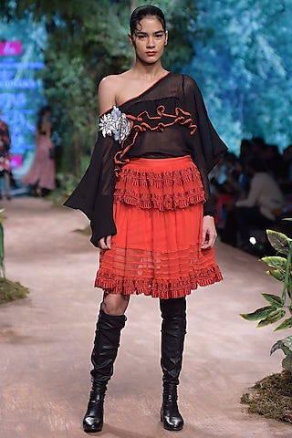 Red Embroidered Lace Skirt by RINA DHAKA