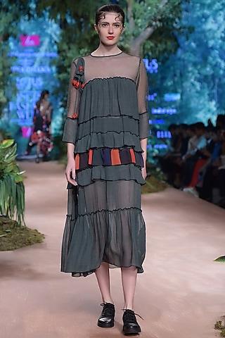Green Tribal Printed Midi Dress by RINA DHAKA
