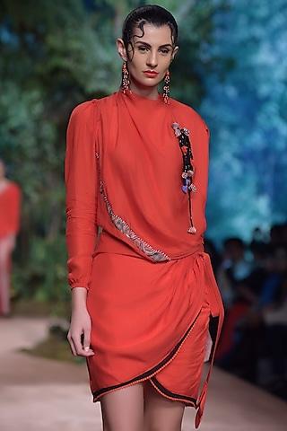 Red Wrap Skirt by RINA DHAKA