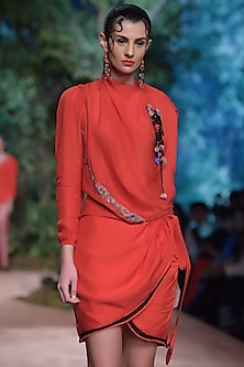 Red Cowl Shoulder Top by RINA DHAKA