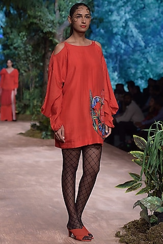 Red Long Sleeves Tunic by RINA DHAKA