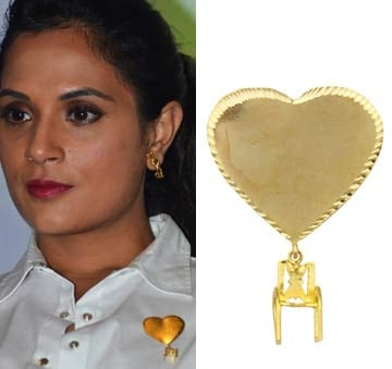 Heart with little chair brooch by Mrinalini Chandra