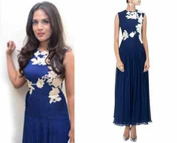 Blue floral embroidered jumpsuit by Ridhi Mehra