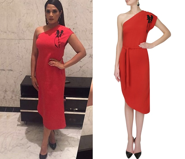 Red single shoulder dress by Birdwalk