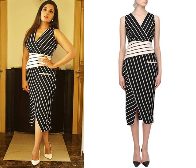 Black Striped Fitted Dress by Varsha Wadhwa