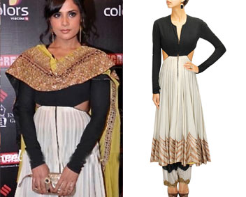 Black and ivory colour blocked embroidered anarkali with ombre salwar by Anand Kabra