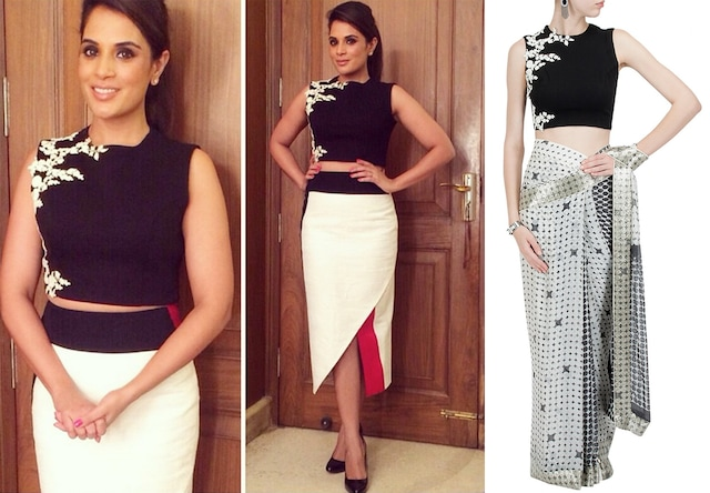 Black crop top with ivory floral detailing by Ridhi Mehra