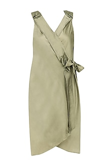 Gold Overlapping Wrap Around Dress by Ritesh Kumar