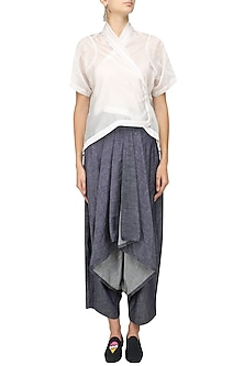White Kimono Jacket and Grey Drape Pants Set by Ritesh Kumar