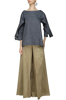 Grey Drape Sleeves Top and Gold Wide Pants Set by Ritesh Kumar
