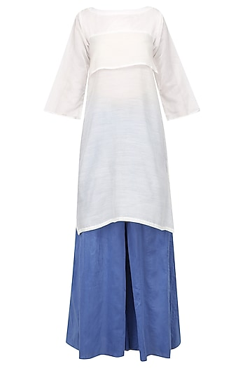 White Tiered Tunic and Blue Wide Pants Set by Ritesh Kumar