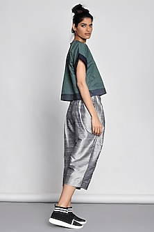 Emerald Green Crop Top With Stitch Lines by Ritesh Kumar