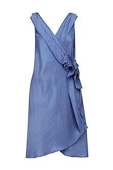 Blue Knotted Tie Up Overlapping Dress by Ritesh Kumar