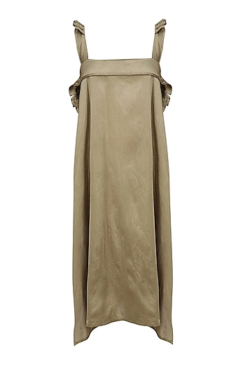 Gold Ruffled Straps Long Dress by Ritesh Kumar