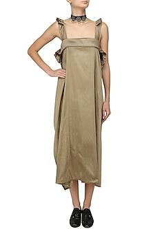 Gold Ruffled Straps Long Dress by Ritesh Kumar