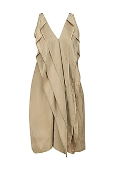 Gold Layered Sleeveless Dress by Ritesh Kumar