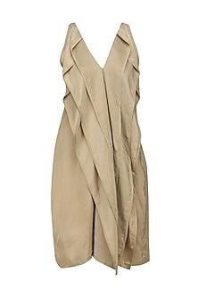 Gold Layered Sleeveless Dress by Ritesh Kumar