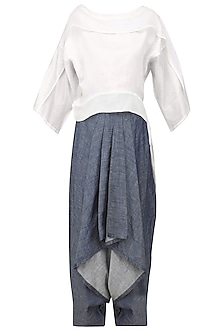 Ivory Kimono Top and Drape Pants Set by Ritesh Kumar