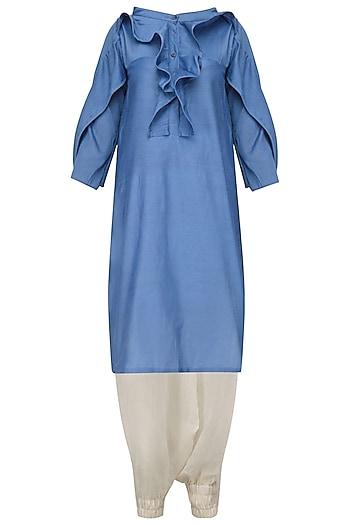 Blue Ruffled Tunic and Harem Pants Set by Ritesh Kumar