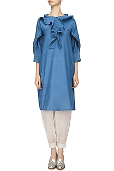 Blue Ruffled Tunic and Harem Pants Set by Ritesh Kumar
