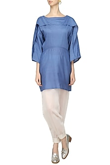 Blue Overlap Panel Tunic and Harem Pants Set by Ritesh Kumar