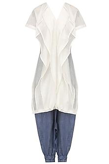 Ivory Layered Tunic and Harem Pants Set by Ritesh Kumar