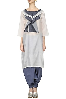 Ivory and Grey Ruffled Tunic With Harem Pants by Ritesh Kumar