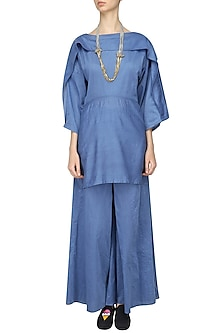 Blue Overlapping Tunic and Wide Legged Pants Set by Ritesh Kumar