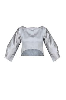 Silver Angular Sleeves Crop Top by Ritesh Kumar