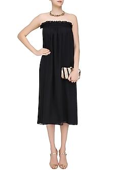 Black Pinafore Ruffled Long Dress by Ritesh Kumar