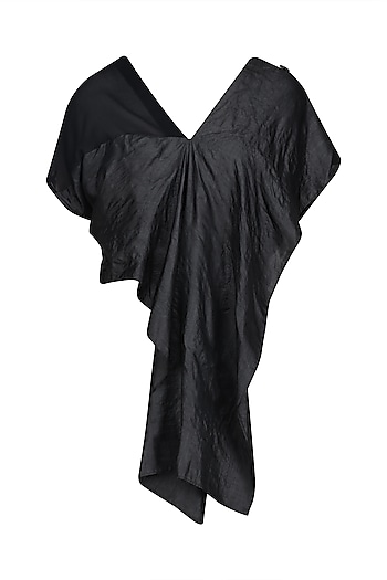 Black Convertible Drape Panel Tunic by Ritesh Kumar