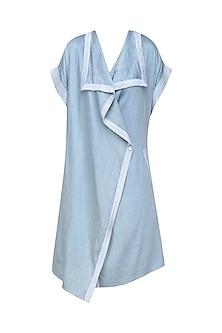 Ice Blue Ruffle Placket Front Open Wrap Jacket/Dress by Ritesh Kumar