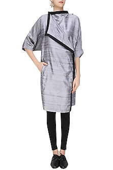 Silver Ruffle Placket Front Open Wrap Jacket/Dress by Ritesh Kumar