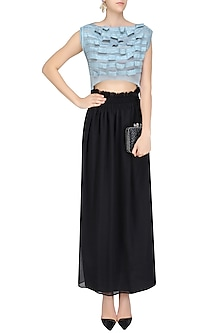 Ice Blue Flow Textured Crop Top by Ritesh Kumar