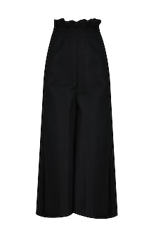 Black Ruffled Panel Palazzo Pants by Ritesh Kumar