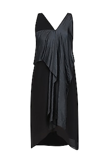 Black Convertible Drape Panel Dress by Ritesh Kumar