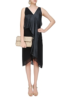 Black Convertible Drape Panel Dress by Ritesh Kumar