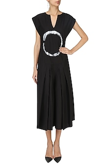 Black Enso Print Pleated Jumpsuit by Ritesh Kumar