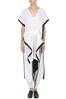 White Asymmetric Drape Tunic with Colorblock Harem Pants by Ritesh Kumar