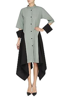 Grey and Black Colorblocked Shirt Dress by Ritesh Kumar
