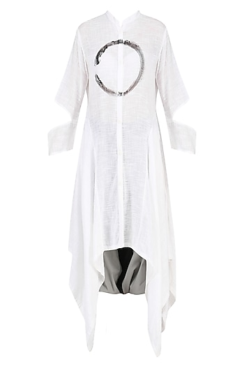 White Enso Print Shirt Dress with Colorblock Harem Pants by Ritesh Kumar